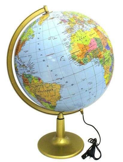 Глобус физико-политический (420 мм) с подсветкой