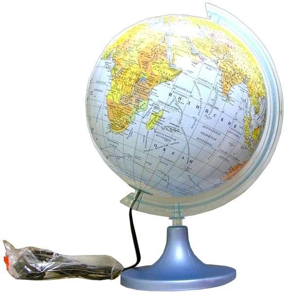 Глобус физико-политический с подсветкой (d=250 мм)