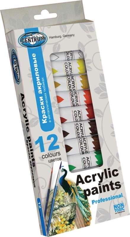 Краски акриловые 12цветов х 12 мл.