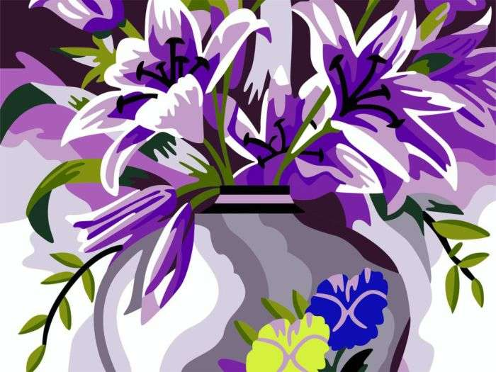 Картина песком: Лилии в вазе
