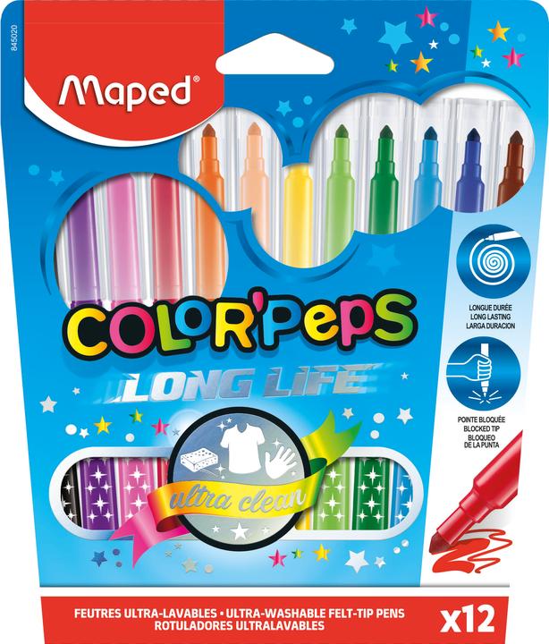 Фломастеры MAPED ColorPeps Long Life 12 цветов