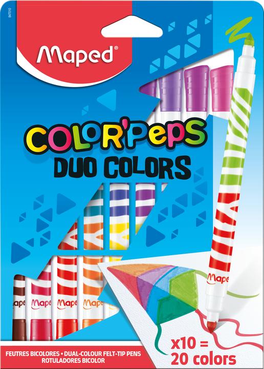 Фломастеры MAPED ColorPeps Long Life DUO 10 шт = 20 цветов