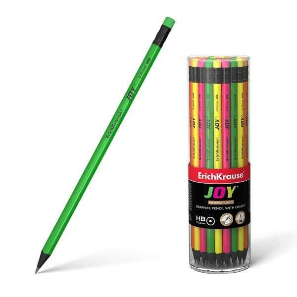 Чернографитный трехгранный карандаш с ластиком ErichKrause HB JOY