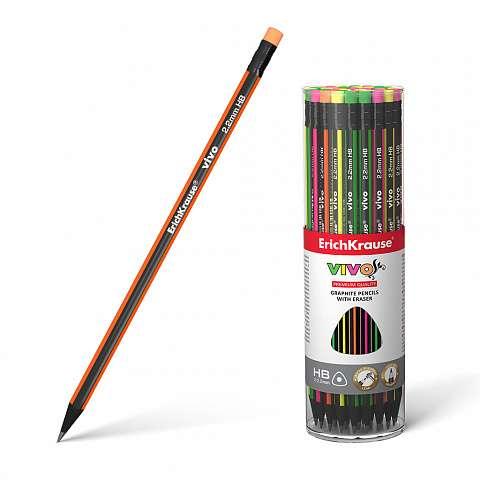 Чернографитный трехгранный карандаш с ластиком ErichKrause VIVO HB