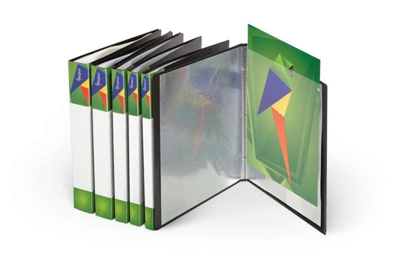 Папка для проспектов 10 кармашков, А4 зеленая