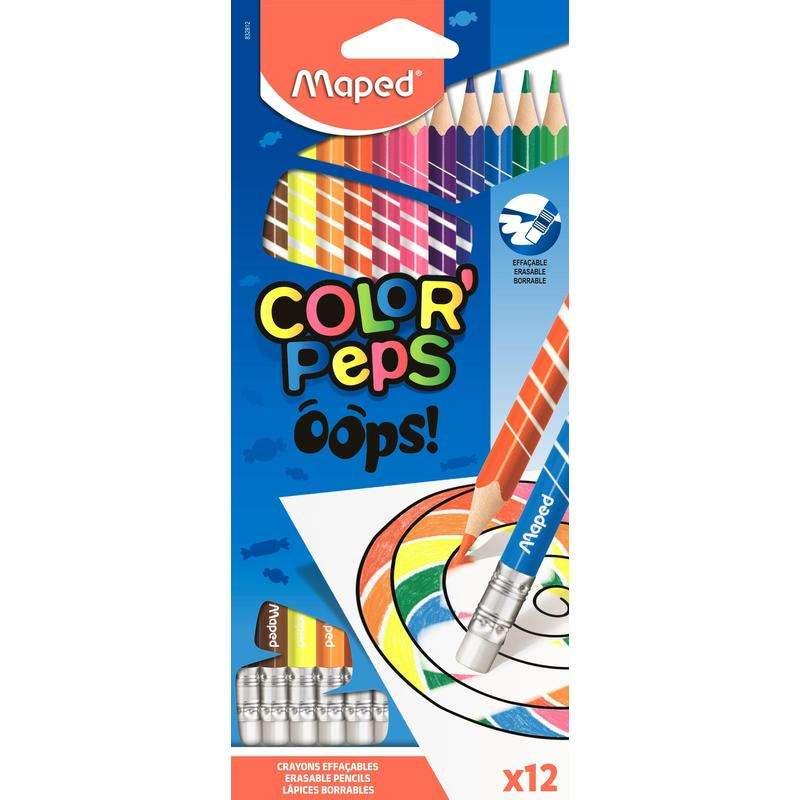 Цветные карандаши с резинкой MAPED