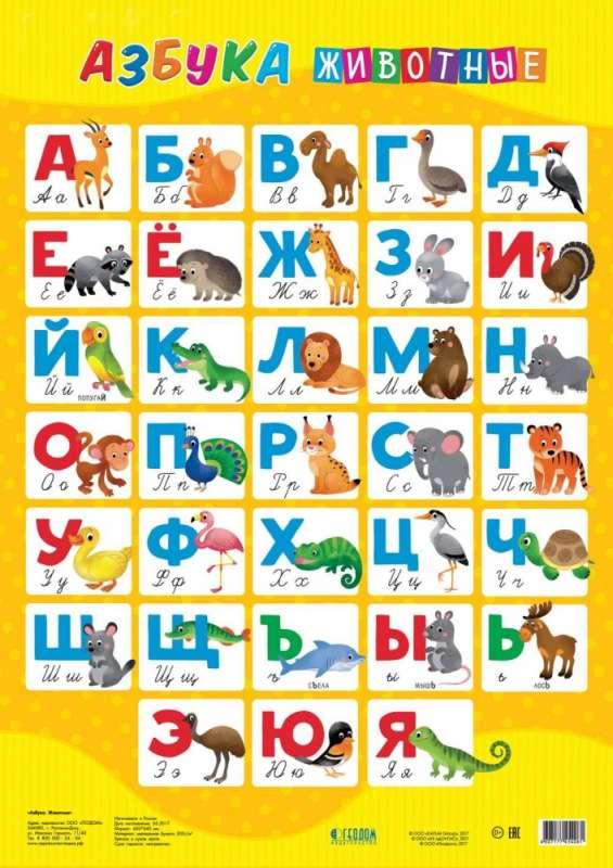 Плакат дидактический. Азбука. Животные