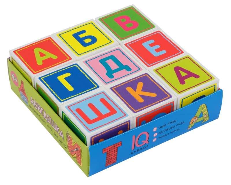 IQ-кубики в поддончике. 9 штук. Абвгдешка