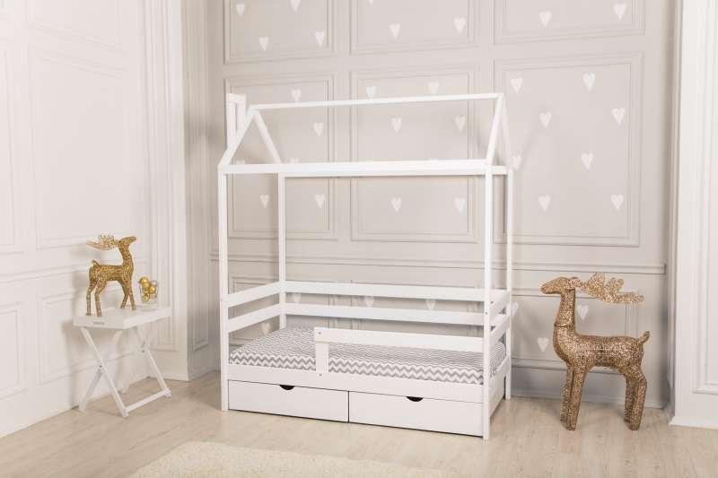 Bērnu gulta mājiņa Dream Home, balta krāsa