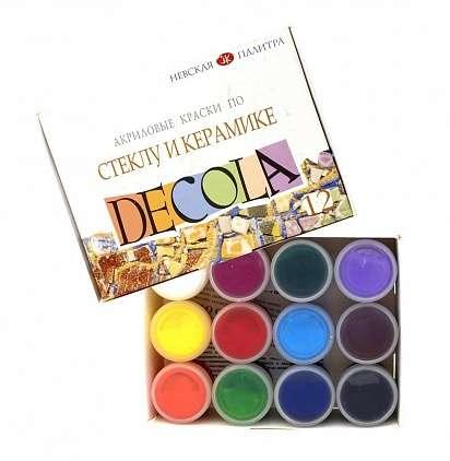 Набор красок по стеклу и керамике DECOLA акриловые 12шт. по 20мл