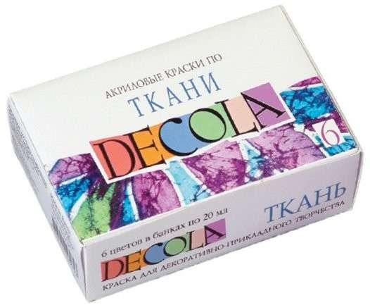 DECOLA auduma krāsu komplekts 6kr. pa 20 ml, kartona kastē