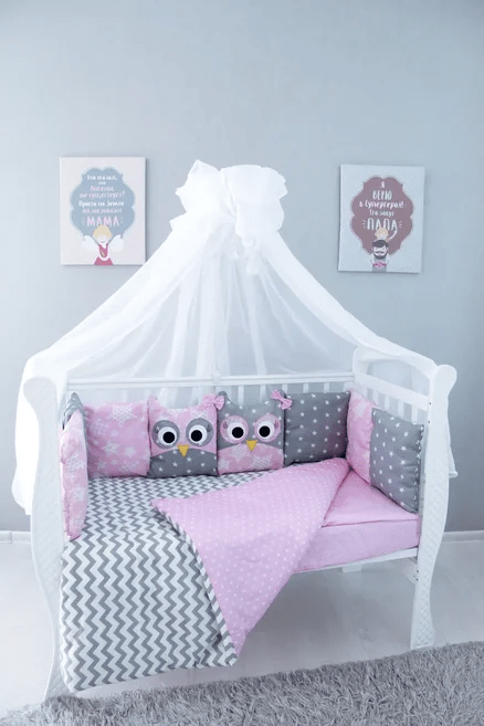 Комплект постельного белья, 6 предметов Совята розовый