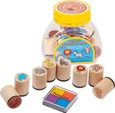 Набор деревянных печатей в банке GOKI - Дикие животные