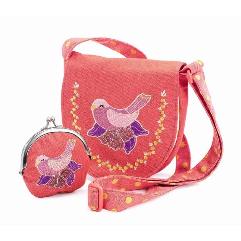Сумочка и кошелек с вышивкой «Птица»