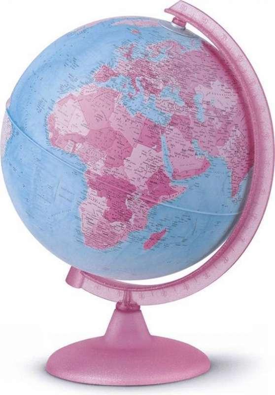 Глобус Розовый 26 см. Политический, с подсветкой