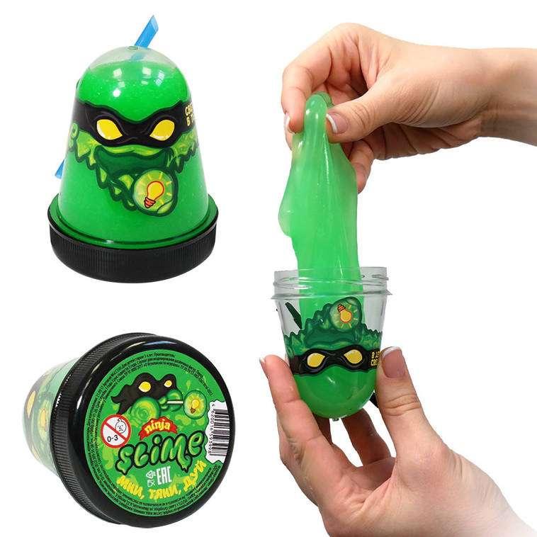 Slime Ninja spīd tumsā, zaļā krāsā, 130 g. baidās no aukstuma