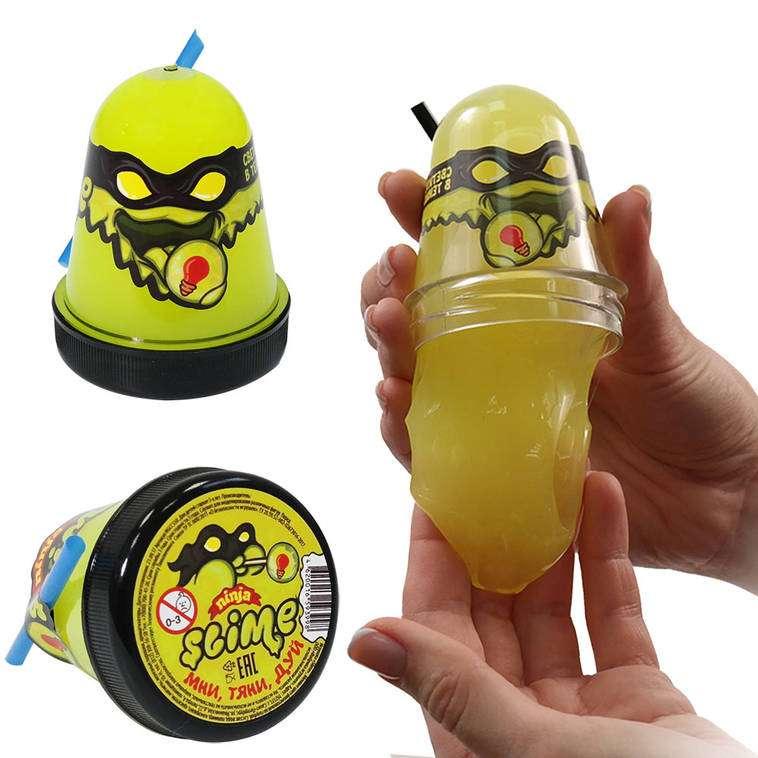 Slime Ninja spīd tumsā, dzeltenā krāsā, 130 g. baidās no aukstuma