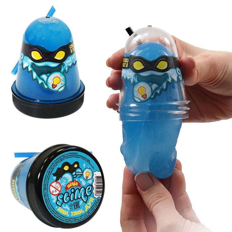 Slime Ninja spīd tumsā, zilā krāsā, 130 g. baidās no aukstuma