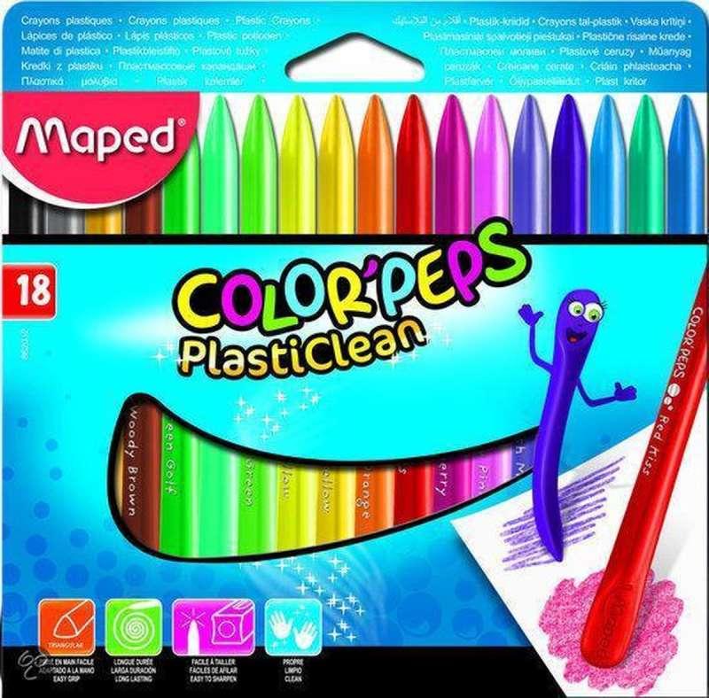 Мелки синтетические MAPED Plasticlean 18 цветов
