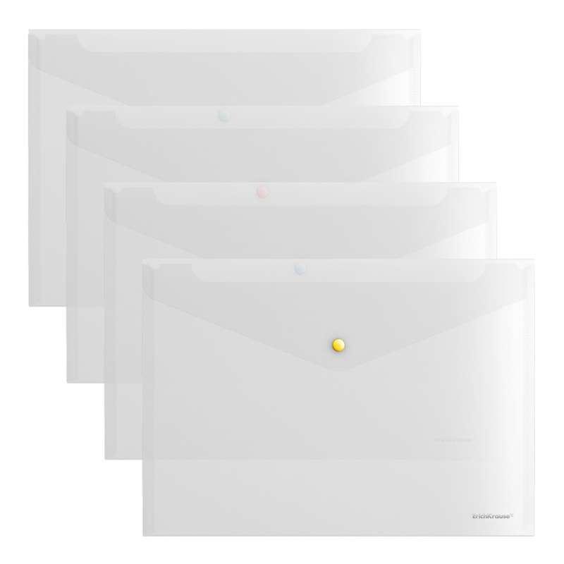 Папка-конверт на кнопке пластиковая ErichKrause Glossy Clear с цветной кнопкой, A4, прозрачный