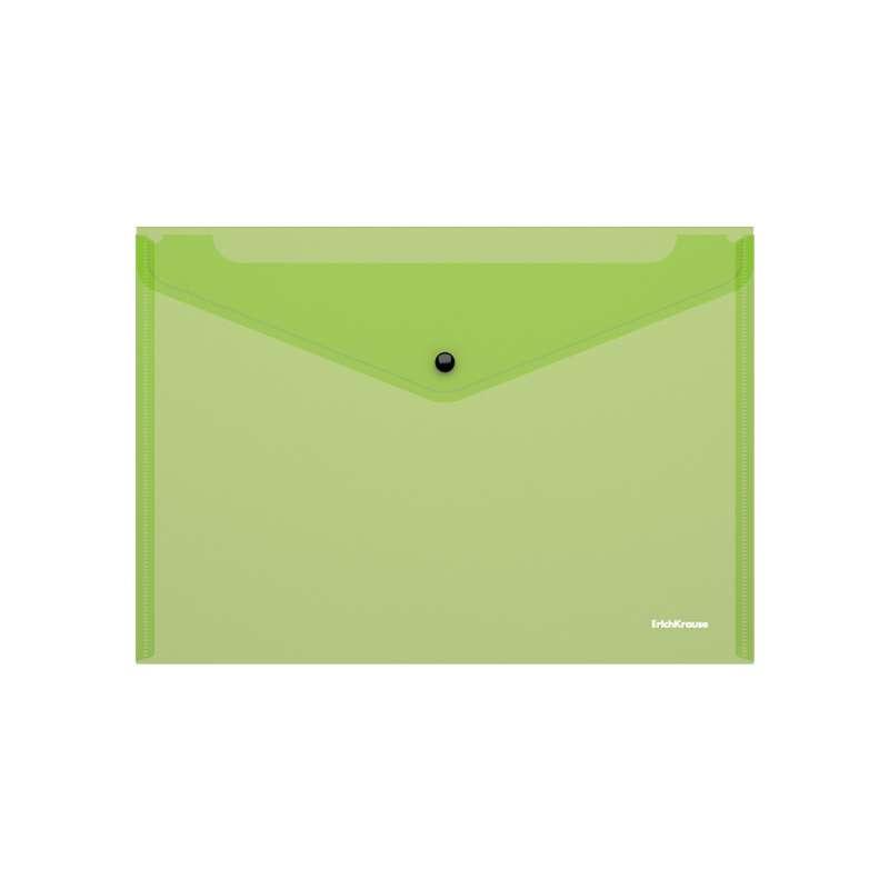 Папка-конверт на кнопке пластиковая ErichKrause Fizzy Neon, полупрозрачная, A4, ассорти