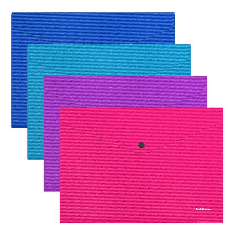 Папка-конверт на кнопке пластиковая ErichKrause Diagonal Vivid