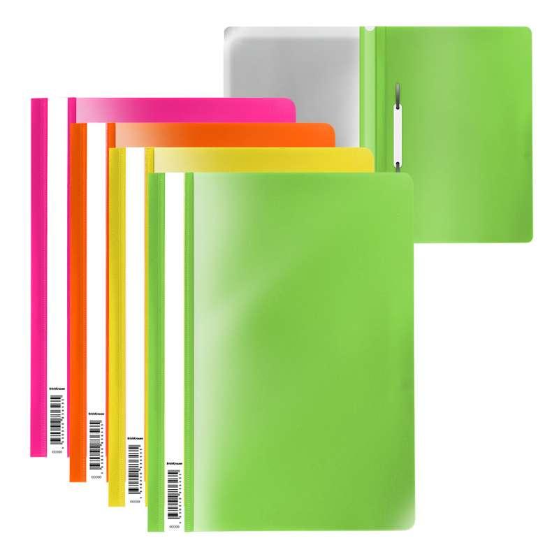 Папка-скоросшиватель пластиковая ErichKrause Fizzy Neon, A4, ассорти