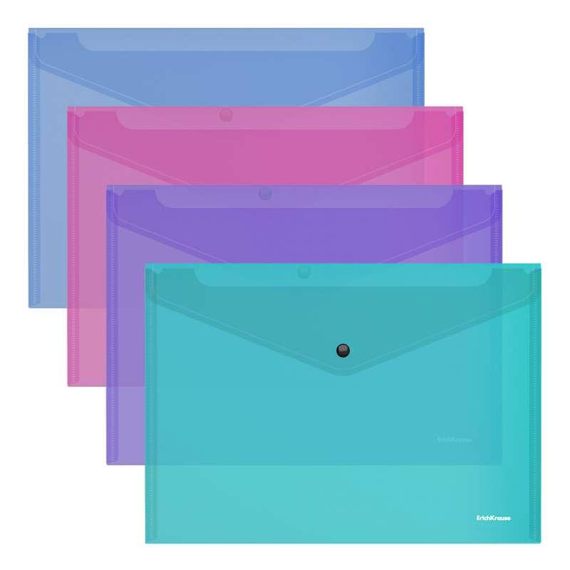 Папка-конверт на кнопке пластиковая ErichKrause Fizzy Vivid, полупрозрачная, A4, ассорти