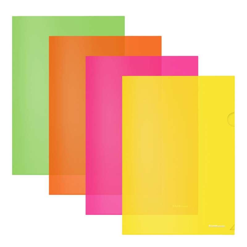 Папка-уголок пластиковая ErichKrause Fizzy Neon, A4, полупрозрачная, ассорти
