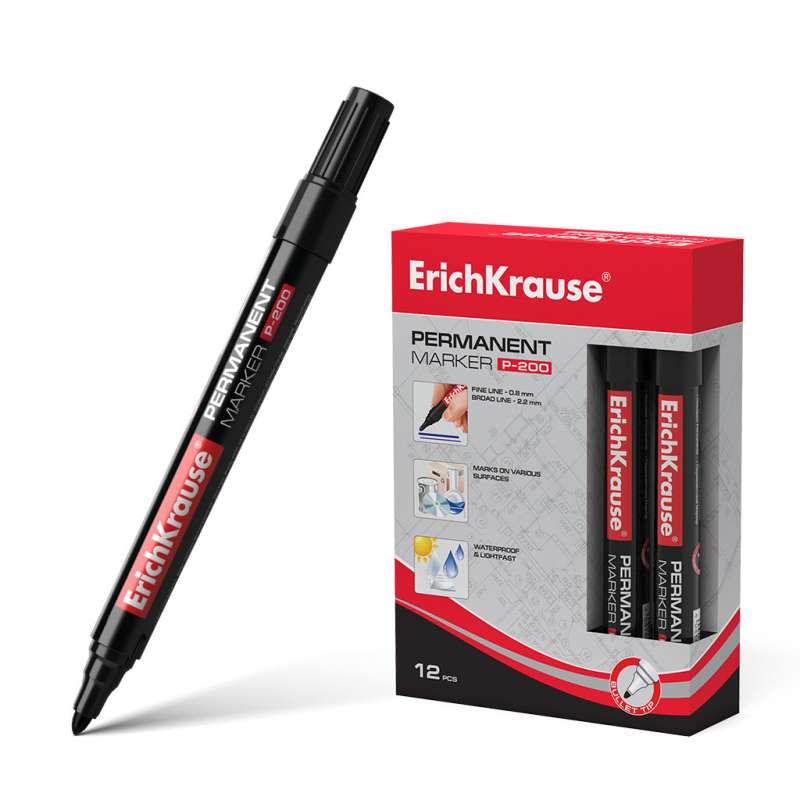 Перманентный маркер ErichKrause P-200, цвет чернил черный