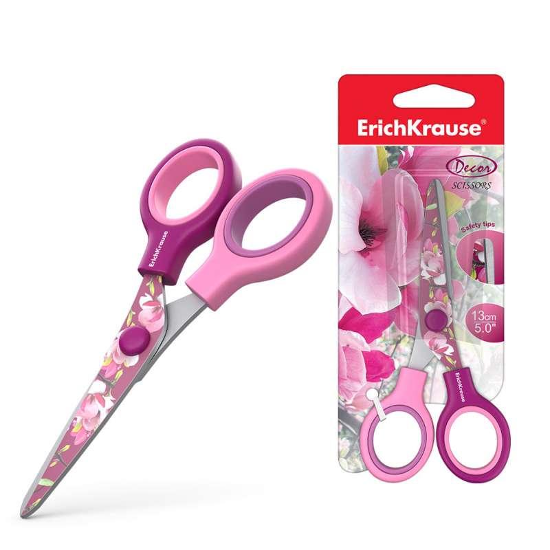 Ножницы ErichKrause Junior Decor Magnolia с принтом на лезвиях, 13см