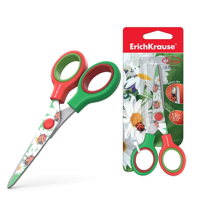 Ножницы ErichKrause Junior Decor Summer с принтом на лезвиях, 13см