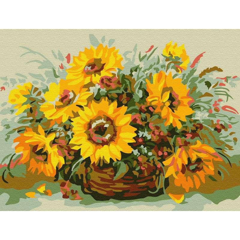 Картина по номерам (15х20) СОЛНЕЧНЫЙ БУКЕТ (11 цветов )