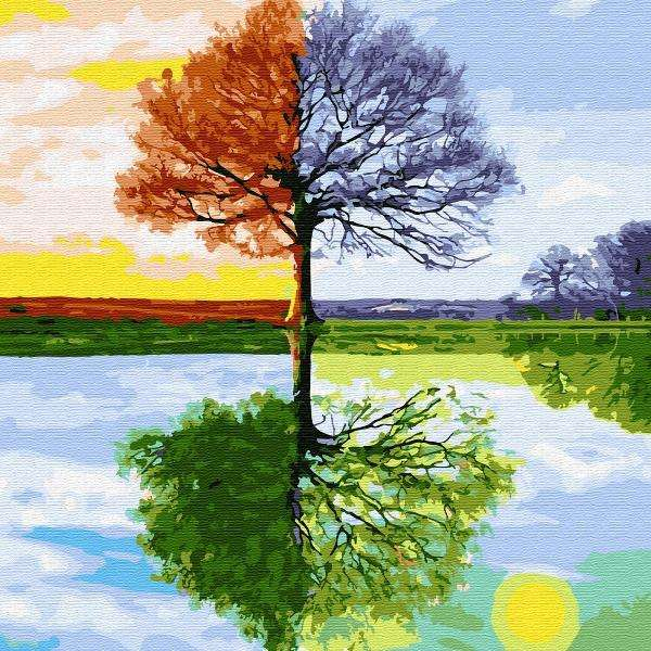Картина по номерам (30Х30) ВРЕМЕНА ГОДА (21 цвет)