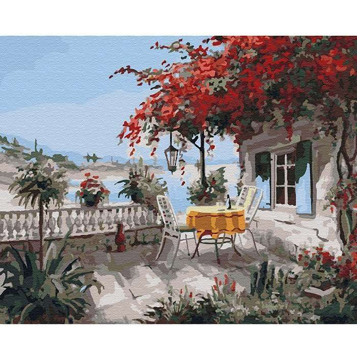 Картина по номерам (40х50) УЮТНЫЙ УГОЛОК (25 цветов)