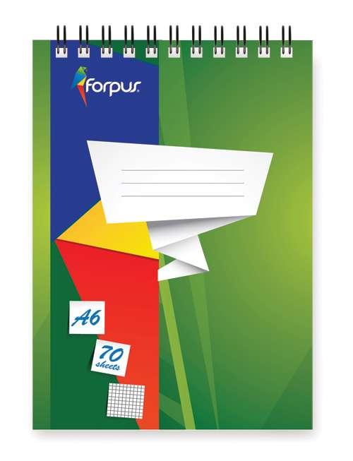 Блокнот А6 FORPUS, 70л, спираль сверху, обложка мелованный картон, блок офсет 60г/м2, клетка