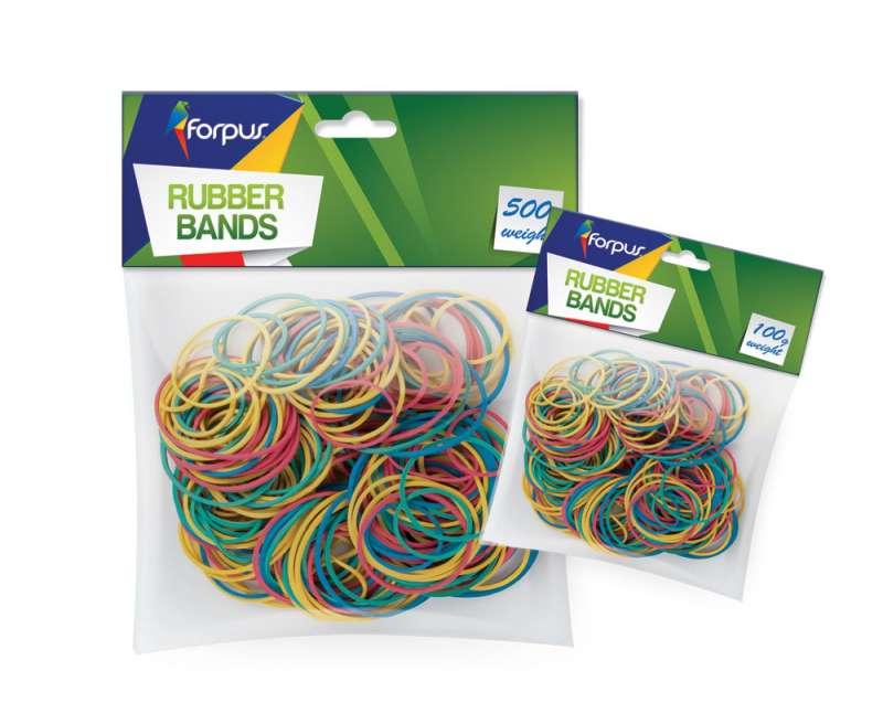 Резинки банковские FORPUS, 100гр, цветные, ассорти