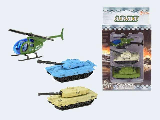 Игрушечная военная машина + вертолет