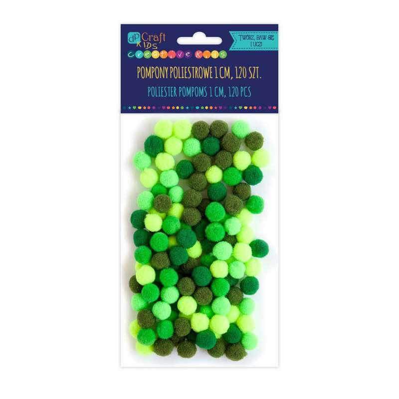 Dekors daiļradei-poliestera Pomponi, 120gb zaļi Mix