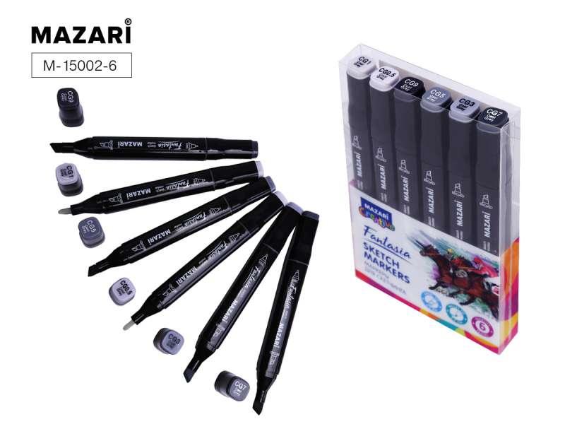 Набор маркеров для скетчинга двусторонние FANTASIA, 6цв., Cool grey (холодные серые цвета)