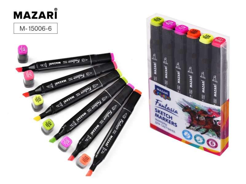 Набор маркеров для скетчинга двусторонние FANTASIA, 6цв., Fluorescent colors (флуорисцентные цвета)