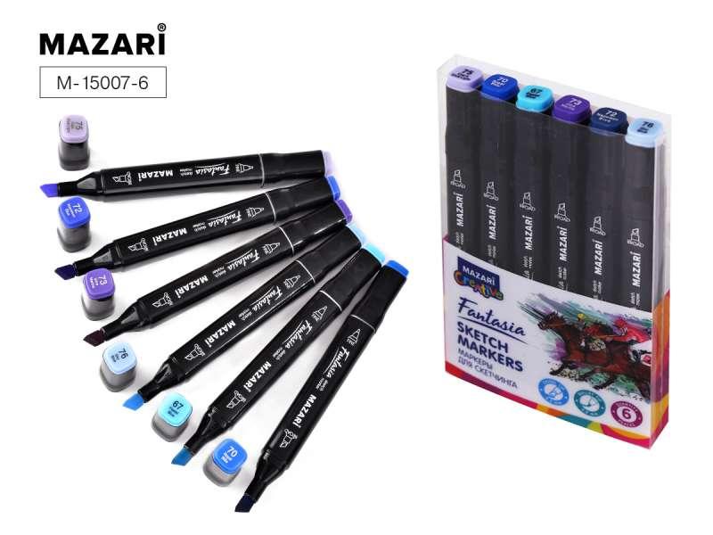 Набор маркеров для скетчинга двусторонние FANTASIA, 6цв., Blue colors (синие цвета)