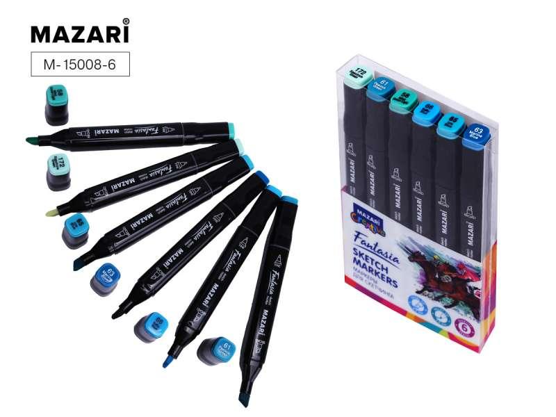 Набор маркеров для скетчинга двусторонние FANTASIA, 6цв., Marine blue colors (морские цвета)