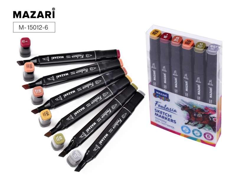 Набор маркеров для скетчинга двусторонние FANTASIA, 6цв., Wood colors (древесные цвета)