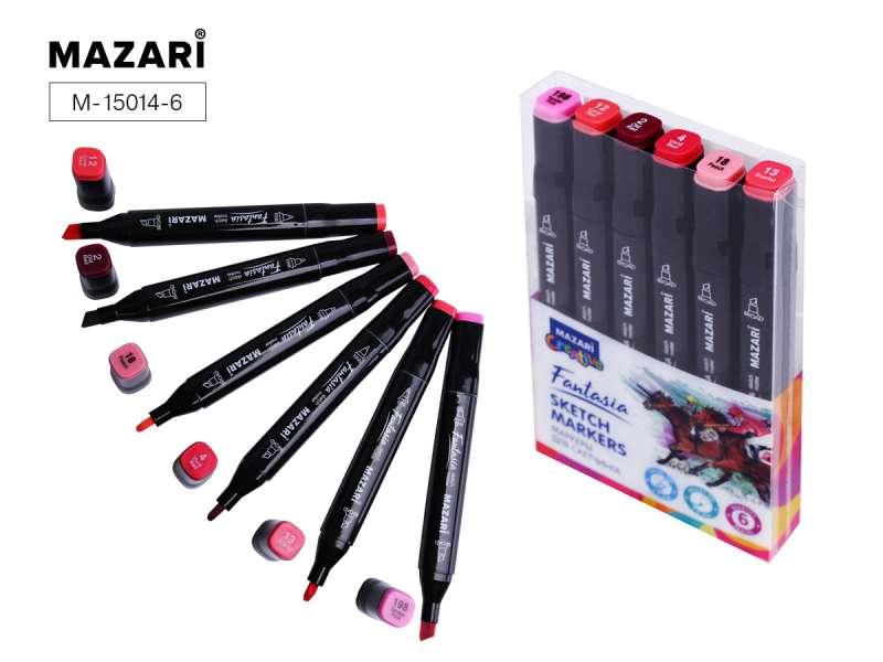 Набор маркеров для скетчинга двусторонние FANTASIA, 6цв., Pink colors (розовые цвета)