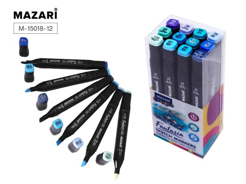 Набор маркеров для скетчинга двусторонние FANTASIA, 12цв., Marine blue colors (морские цвета)
