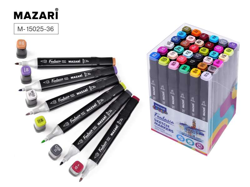 Divpusēju marķieru komplekts skicēšanai FANTASIA, 36 krāsas, Main colors (основные цвета)
