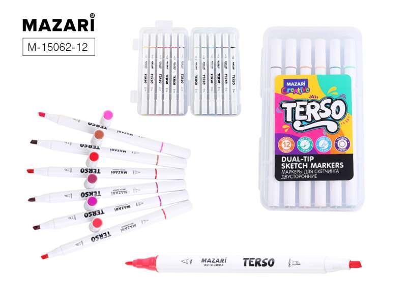 Набор маркеров для скетчинга двусторонних TERSO, 12цв. (Main colour), корпус круглый