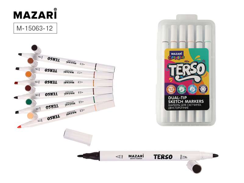 Набор маркеров для скетчинга двусторонних TERSO, 12цв. (Forest colors), корпус круглый