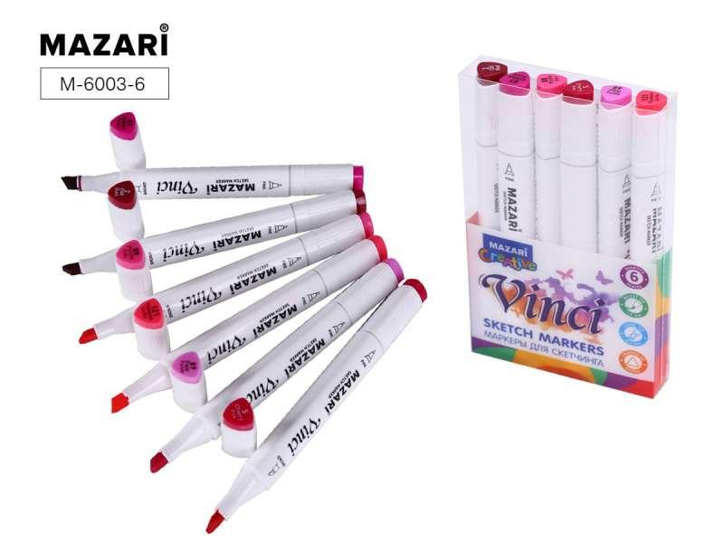 Набор маркеров для скетчинга двусторонние VINCI, 6цв., Berries colors (ягодные цвета)